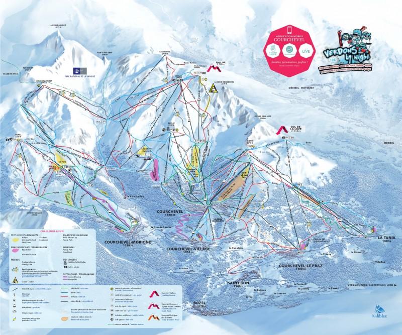 Plan des pistes Courchevel - 3 Vallées